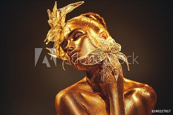 Golden fantasy flowers
