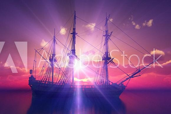 Zeilboot bij valavond
