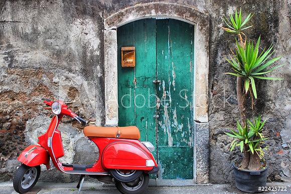 Rode vintage Vespa