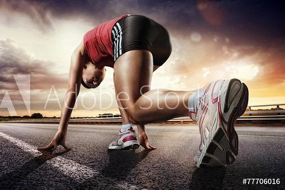 Sprintster op atletiekpiste