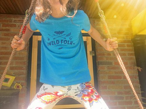 Wild Folk Tee (Kids: Turquoise w/ Blue)