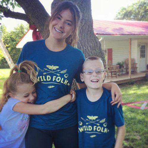 Wild Folk T-shirts (Adult: Blue w/ Yellow)