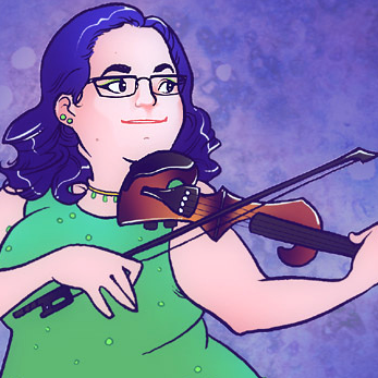 a drawing of a purple-haired woman playing an electric violin