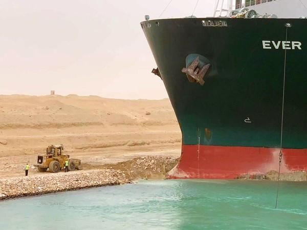 Ever Given encalhado no porto de Suez