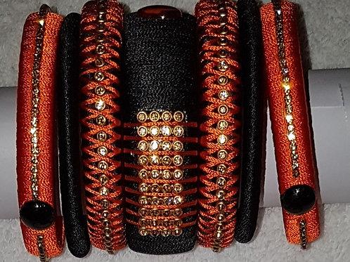 Black - Orange Bangles