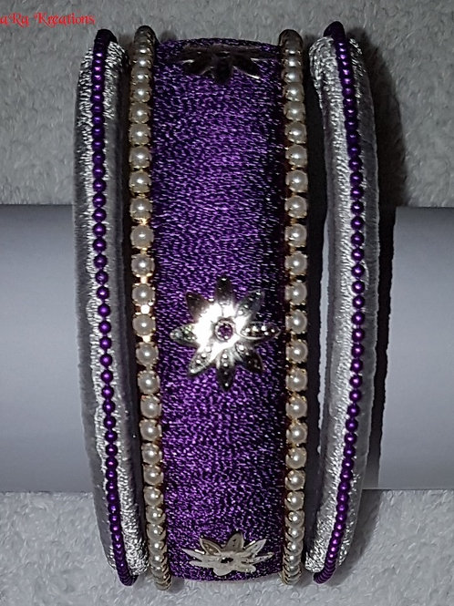 Purple - White Bangles