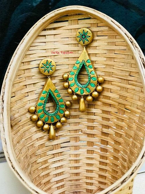 Green - Gold Earring