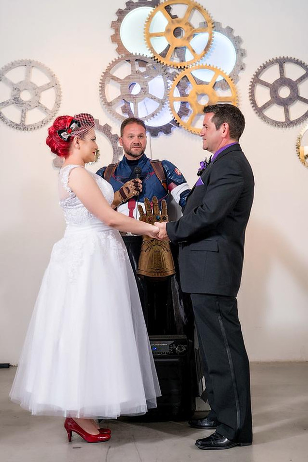 Hawkeye and Black Widow wedding ceremony