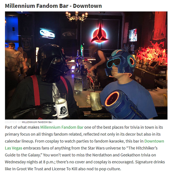 Fandom Bar featured iNeighborhoods.com -  6 Las Vegas Bars with Trivia Nights