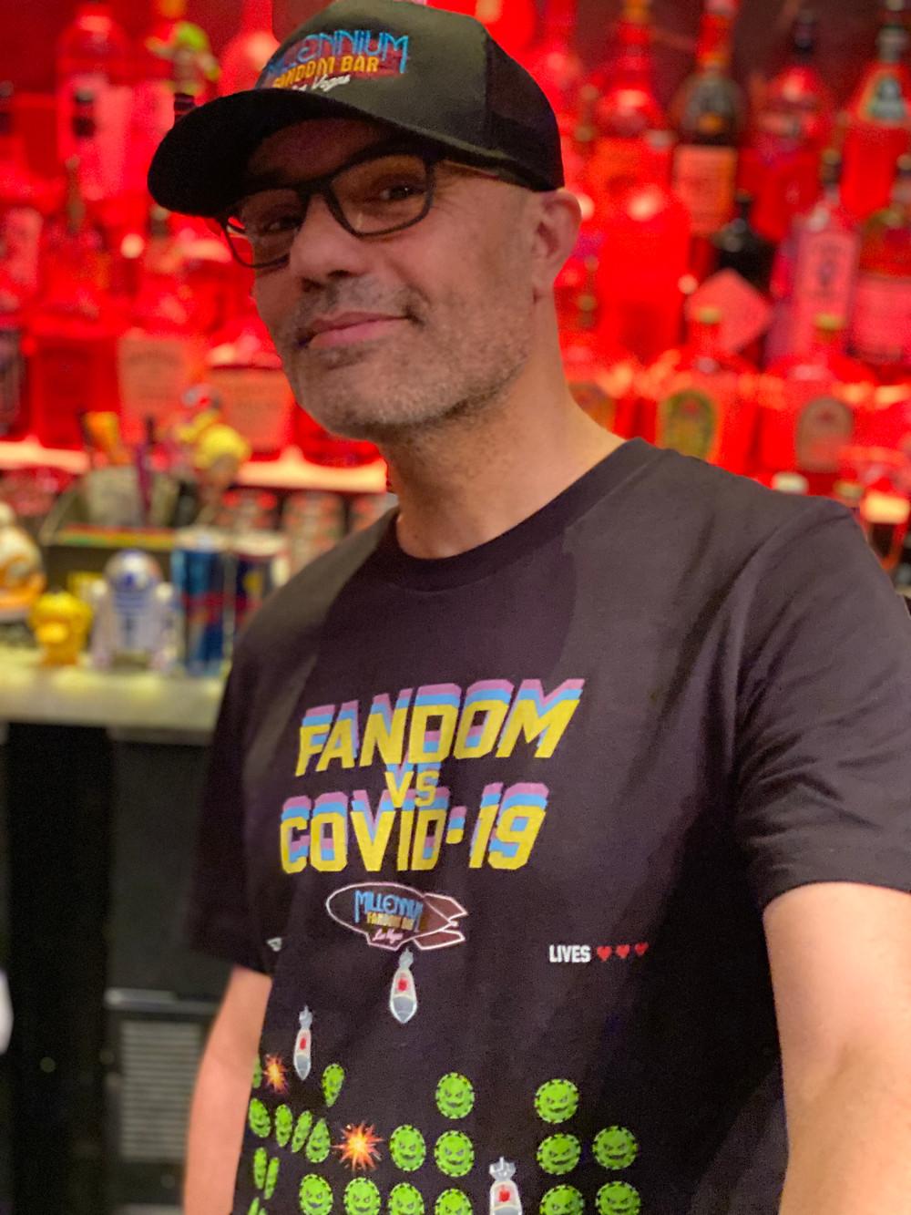 Alex Pusineri wearing the MFB Fandom vs Covid-19 Special Edition Tshirt