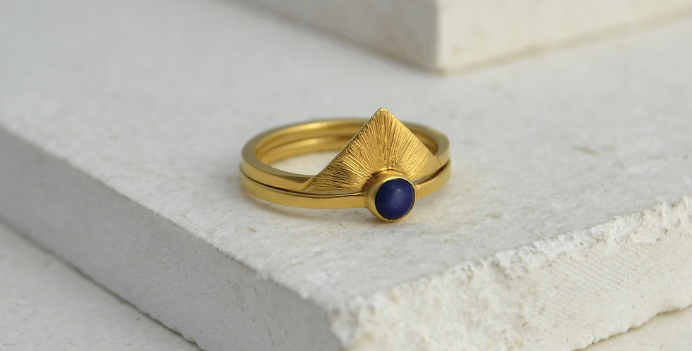 Triangle Sunrise Ring Stack - Gold & Lapis Lazuli