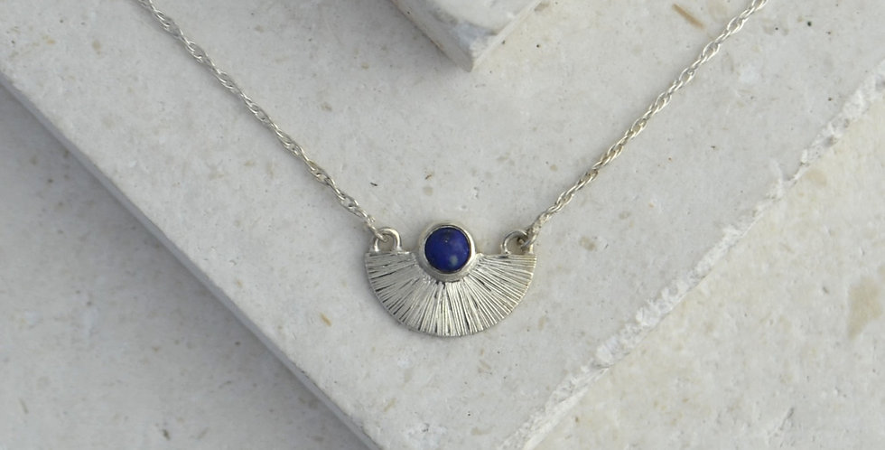 Mini Sunbeam Pendant - Silver & Lapis Lazuli