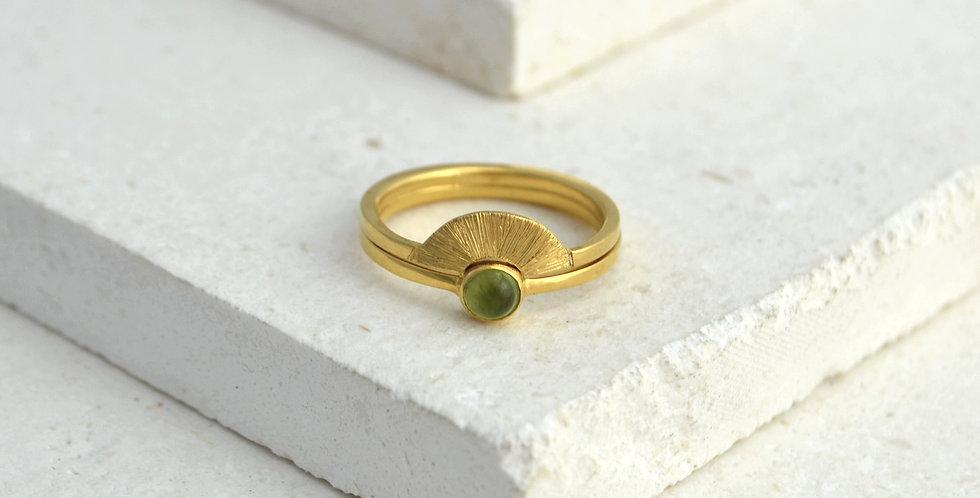 Sunrise Ring Stack - Gold & Peridot