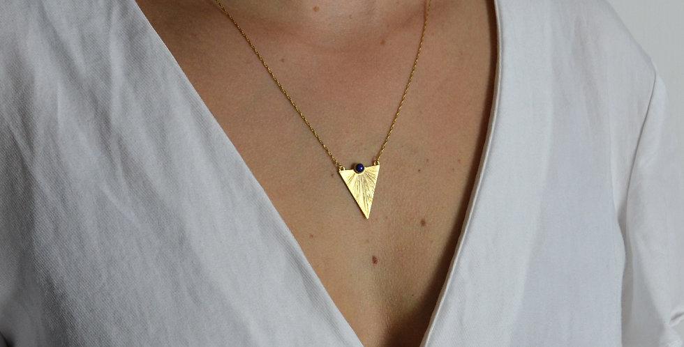 Triangle Sunbeam Pendant - Gold & Lapis Lazuli