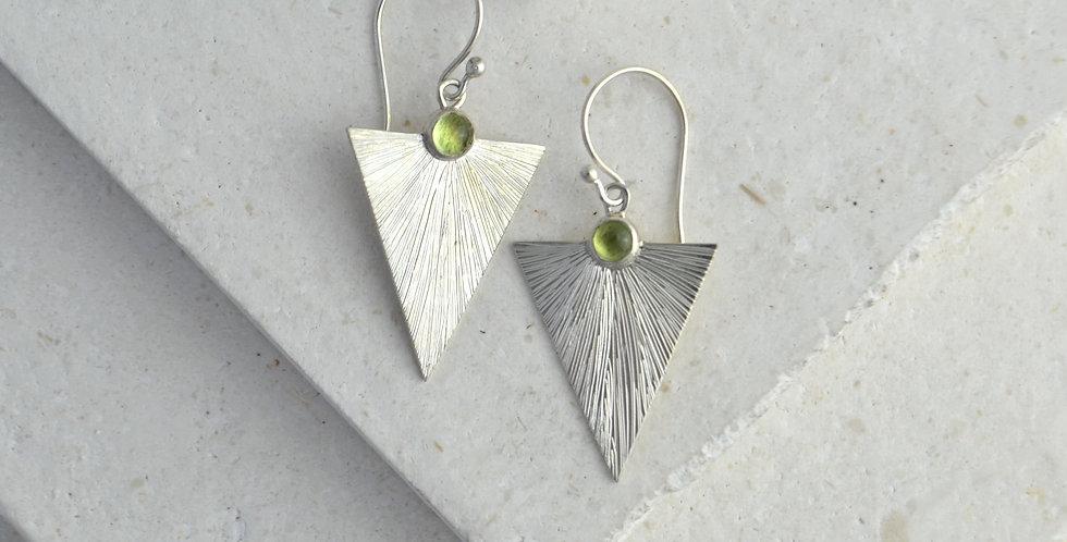 Triangle Sunbeam Earrings - Silver & Peridot