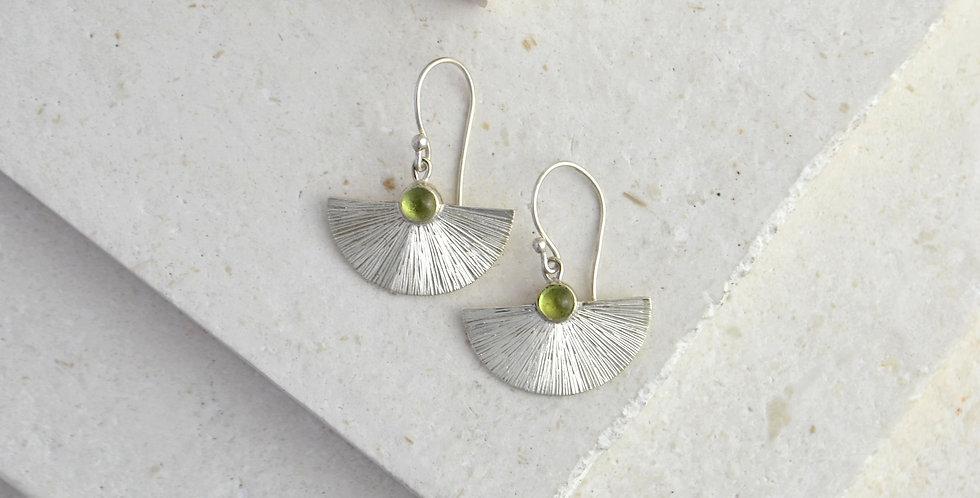 Sunbeam Earrings - Silver & Peridot