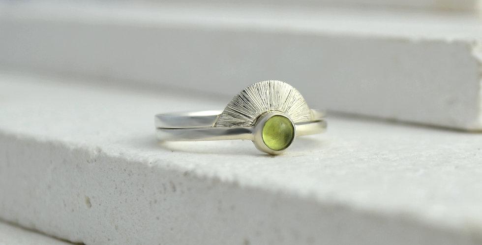 Sunrise Ring Stack - Silver & Peridot