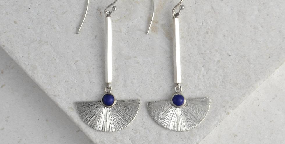 Long Sunbeam Earrings - Silver & Lapis Lazuli