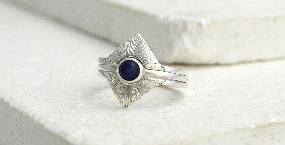 Square Sun Ring Stack - Silver & Lapis Lazuli