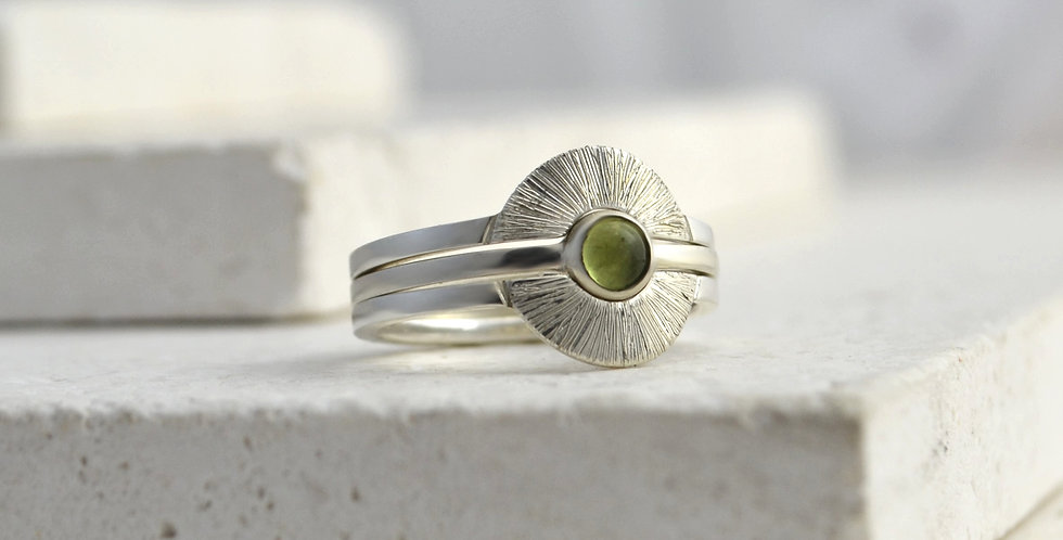 Sun Ring Stack - Silver & Peridot