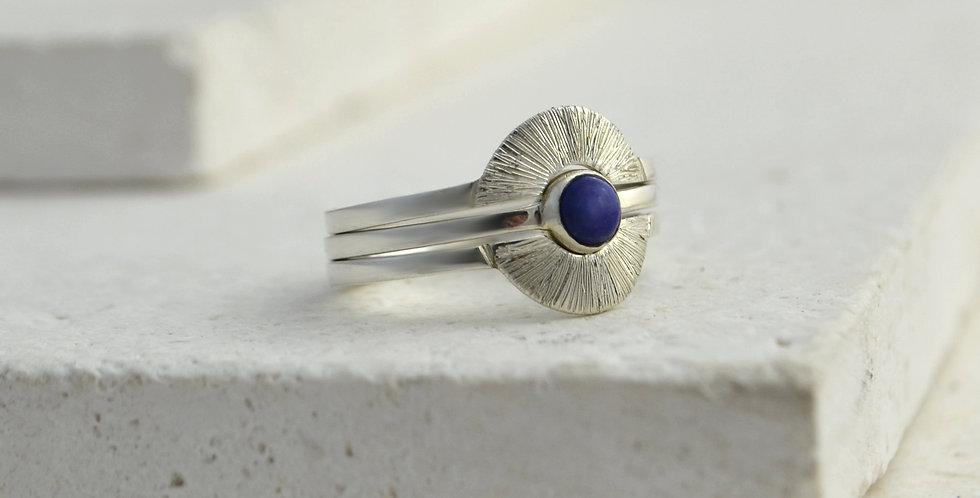 Sun Ring Stack - Silver & Lapis Lazuli