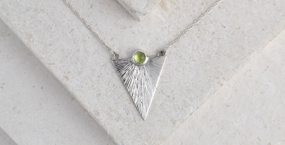 Triangle Sunbeam Pendant - Silver & Peridot