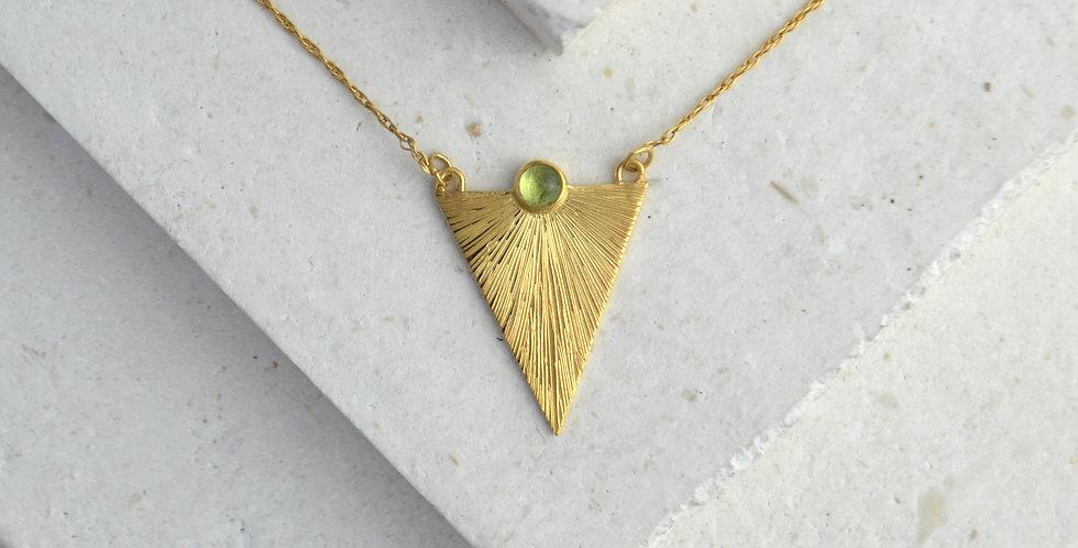 Triangle Sunbeam Pendant - Gold & Peridot