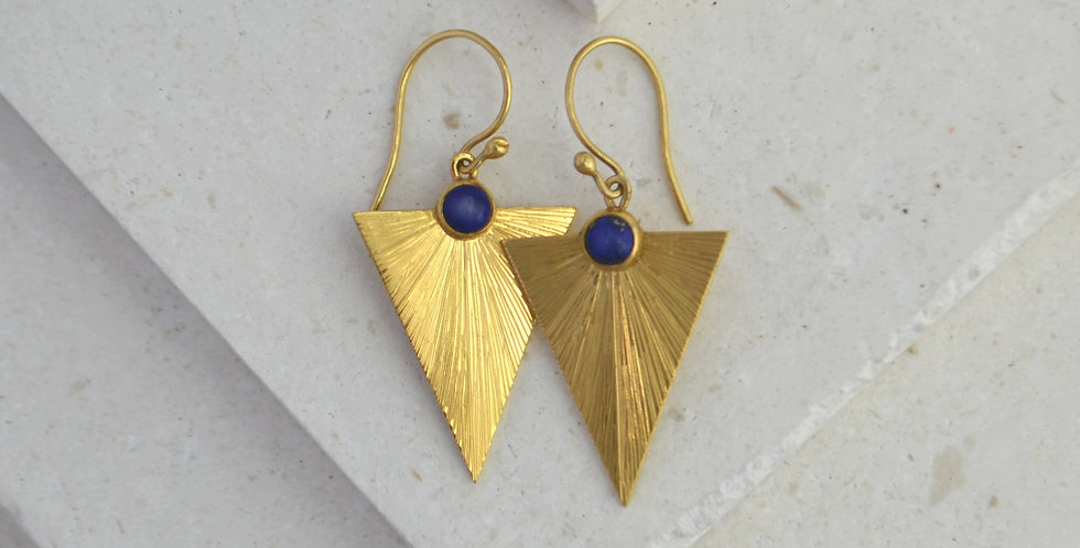 Triangle Sunbeam Earrings - Gold & Lapis Lazuli