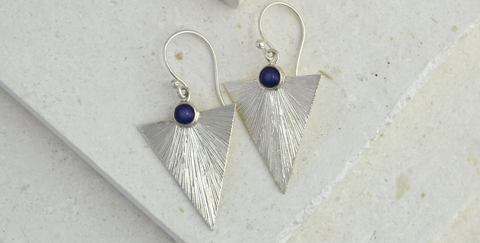 Triangle Sunbeam Earrings - Silver & Lapis Lazuli