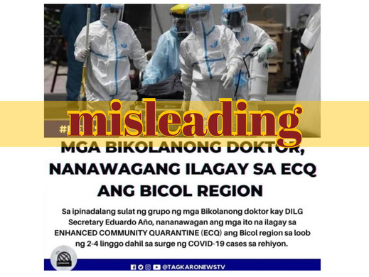 Photo of medical workers in Manila misused to depict Bicol doctors