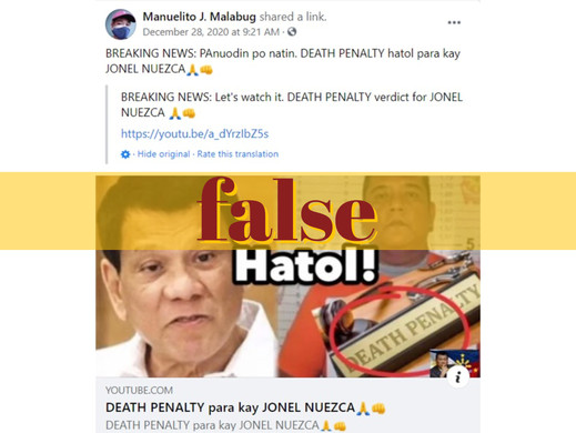 No death penalty in the Philippines