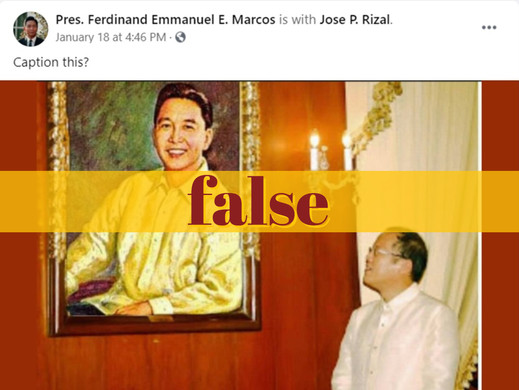 Noynoy Aquino photo admiring Marcos portrait fake