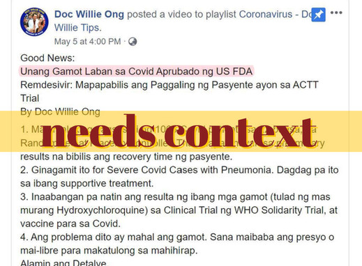 Claim that FDA 'approved' remdesivir needs context