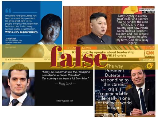 Celebrity quotes hailing Duterte leadership during pandemic fake