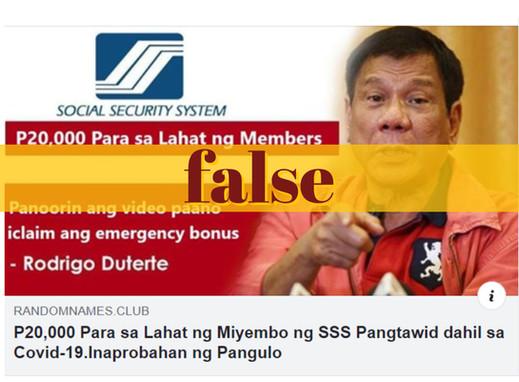 P20,000 per SSS member during COVID-19 crisis a hoax