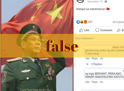 Photo of Duterte saluting Chinese flag doctored