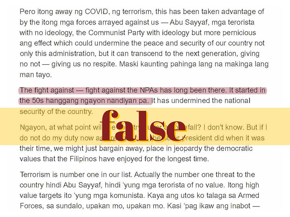 Screengrab of Duterte's speech misstating founding date of New People's Army