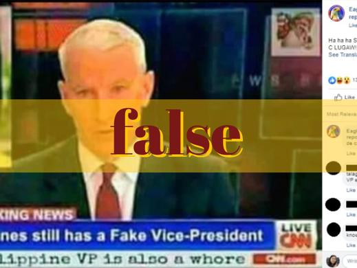 Image of CNN report altered to label Robredo 'fake' VP