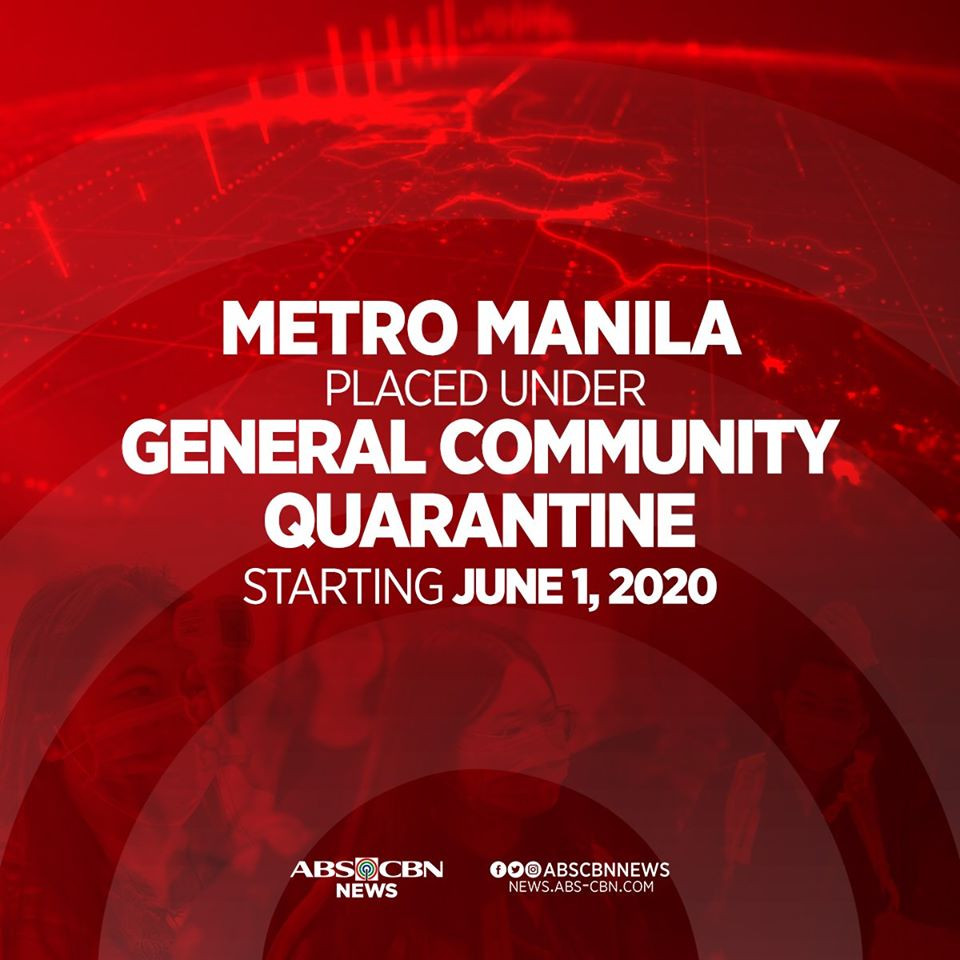 ABS-CBN's social card on general community quarantine that takes effect June 1, 2020