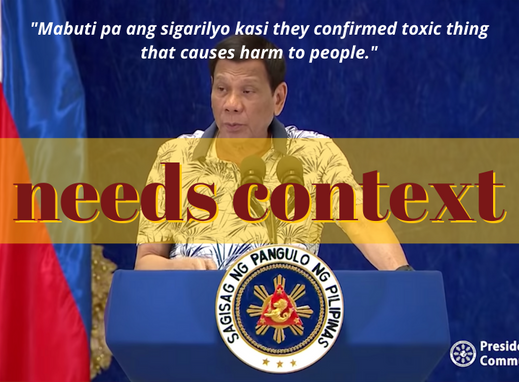 Duterte's claim on nicotine in vapes needs context