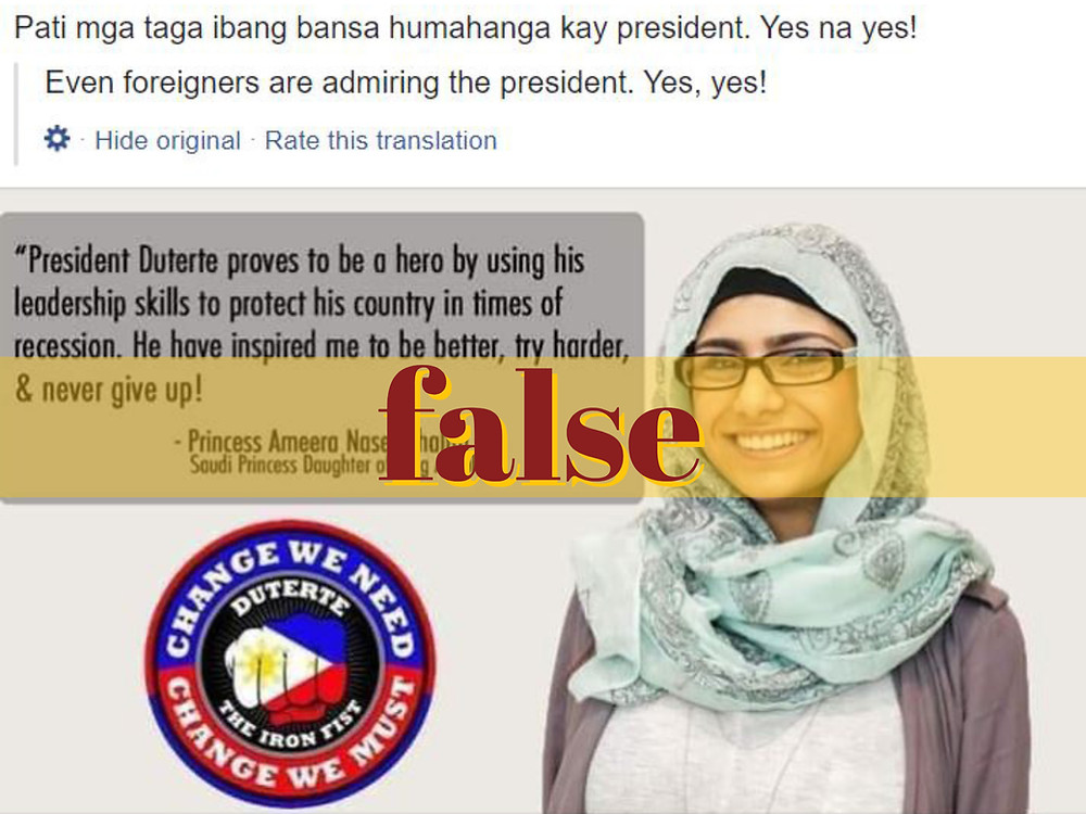 Image on quote card shows Lebanese former actress Mia Khalifa who's passed off as a Saudi princess praising President Duterte