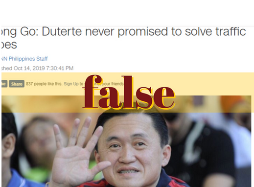 Bong Go falsely claims Duterte never vowed to solve traffic