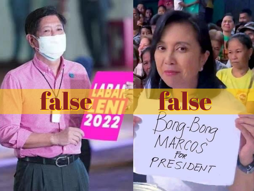 Doctored photos of rival bets Leni, Bongbong surface