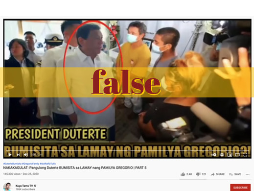 Video manipulates photo to claim Duterte at Gregorio wake