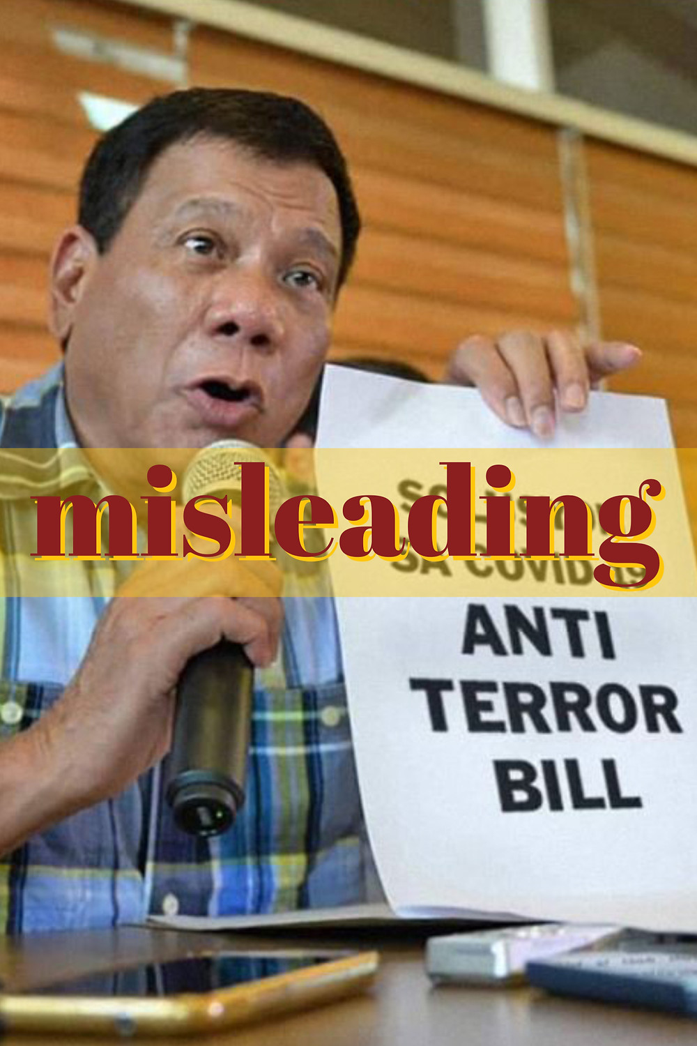 Doctored image of President Duterte holding a sign supporting the antiterror bill