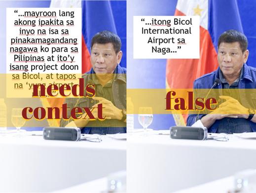 Bicol int'l airport project began before Duterte, is in Daraga