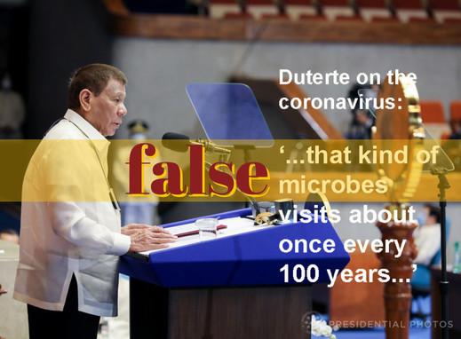 Duterte repeats wrong once-in-a-century coronavirus claim