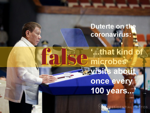 Duterte repeats wrong once-in-a-century coronavirus claim