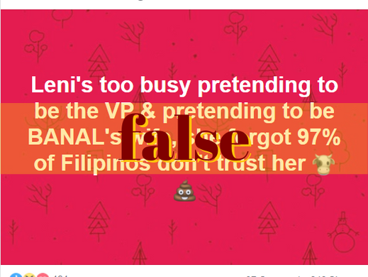 FB post falsely claims 97% of Filipinos distrust Robredo