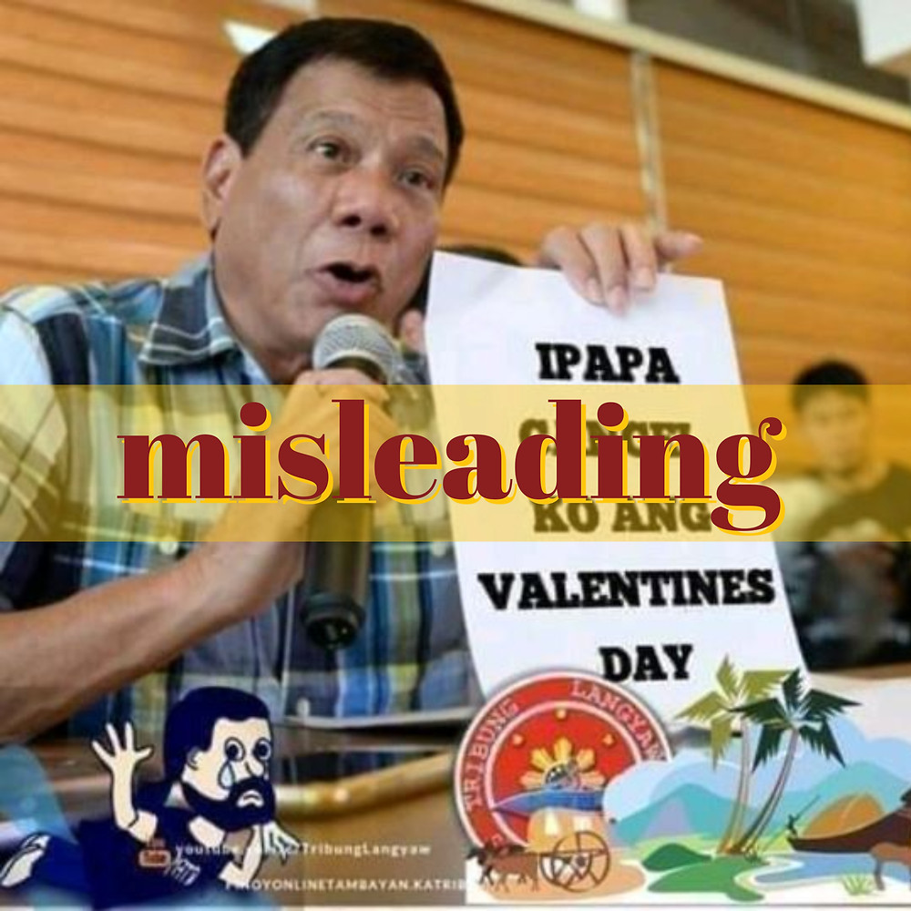 Doctored image of President Duterte holding sign saying he'll cancel Valentine's Day
